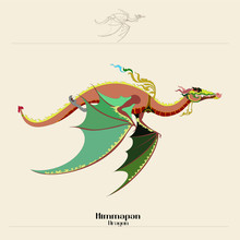 Line Thai Dragon Of Himmapan On White Background