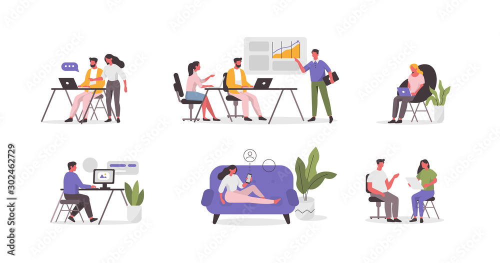 Fototapety, obrazy: Business People Characters in Coworking Place. Businessman and Businesswoman Working, Discussing and Meeting in Open Space Office. Coworkers and Freelancers Team. Flat Cartoon Vector Illustration.