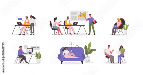 Obraz Business People Characters in Coworking Place. Businessman and Businesswoman Working, Discussing and Meeting in Open Space Office. Coworkers and Freelancers Team. Flat Cartoon Vector Illustration. - fototapety do salonu