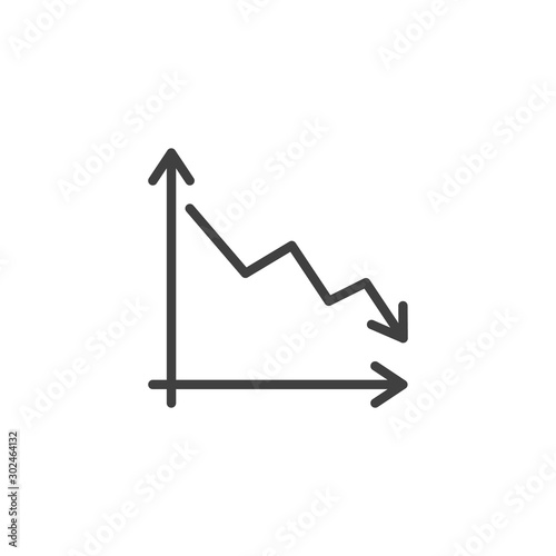 Business decline graph line icon Wallpaper Mural