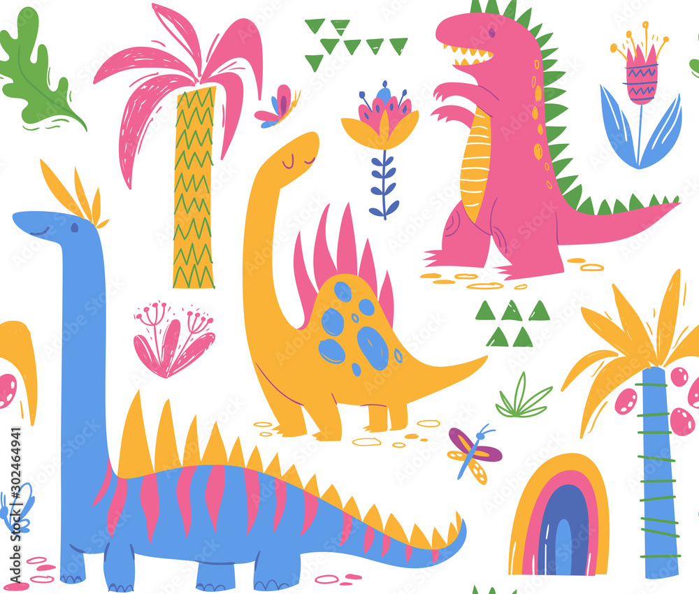 Seamless pattern with cute dinosaur characters for textile