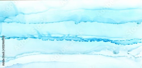 Abstract blue paint blots background. Alcohol ink colors. Marble texture. Horizontal banner.