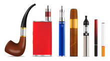 Smoking And Vaping Cigarette Icon Set, Vector Isolated Illustration