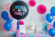 Gender Party, Blue And Pink Wall Background, Boy Or Girl Object In The Wall And Close Up Party Table With Cake And Blue And Pink Plate, Fork And Napkins