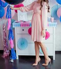 Pregnant Woman Near Pink And Blue Decorations At Gender Reveal Party