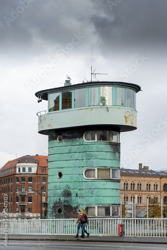 Photo One of two control towers designed by danish architect Kaj Gottlob on Knippel's Bridge (Knippelsbro)