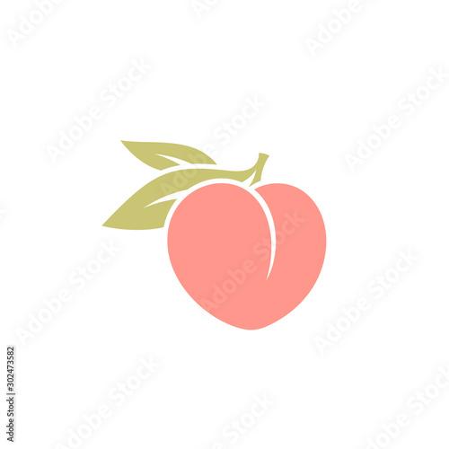 Fresh peach. Logo. Japanese white peach with leaves Fototapeta