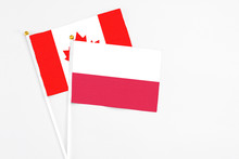 Poland And Canada Stick Flags On White Background. High Quality Fabric, Miniature National Flag. Peaceful Global Concept.White Floor For Copy Space.
