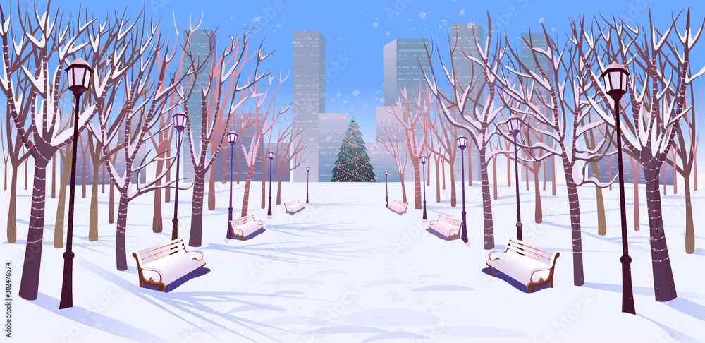 Fototapety, obrazy: Panorama road over the winter park with benches, trees, lanterns and a garland day light. Vector illustration of winter city street in cartoon style.