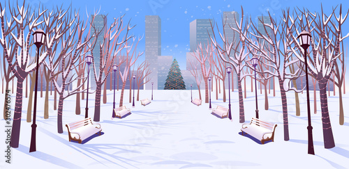 Photo sur Aluminium Blanc Panorama road over the winter park with benches, trees, lanterns and a garland day light. Vector illustration of winter city street in cartoon style.