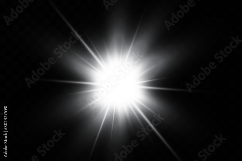White glowing light explodes on a transparent background Canvas-taulu