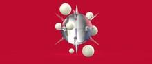 Diseño De Esferas Con Espinas Y Burbujas Flotantes. Ilustración 3d De Figuras Geométricas Abstractas, Materiales Plásticos Y Vidrio Transparente. Fondo Tridimensional Realista