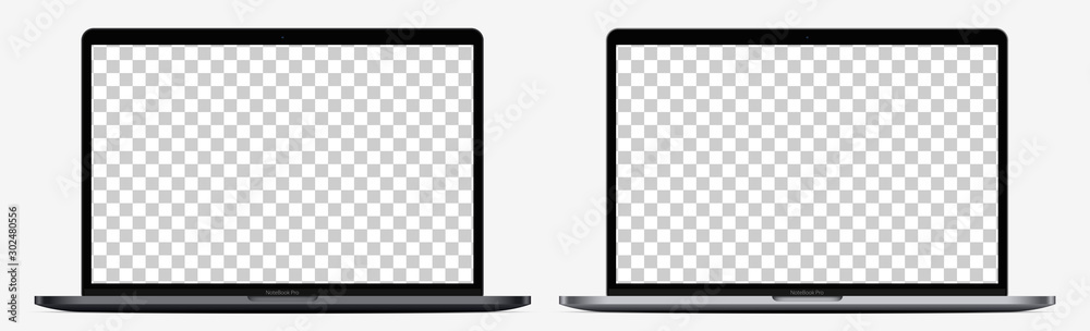 Fototapeta Device screen mockup. Realistic Open Laptop in two color with Blank Screen for you design. Vector EPS10