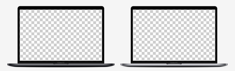 Device screen mockup. Realistic Open Laptop in two color with Blank Screen for you design. Vector EPS10