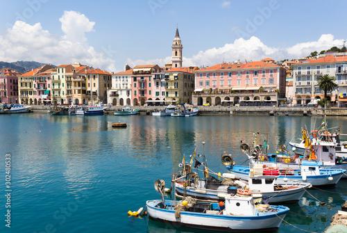 ancient port Imperia Oneglia in Liguria Canvas Print