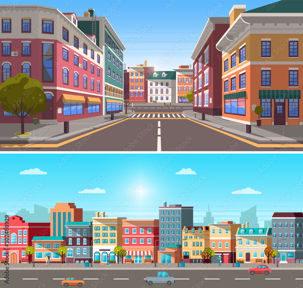 Fototapeta City street with buildings and infrastructure vector. Homes and houses placed in row. Cars on roads in urban area. Old and modern construction in city. 3d town with pedestrian crossings and trees