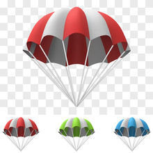 Red And White Cartoon Parachute Template