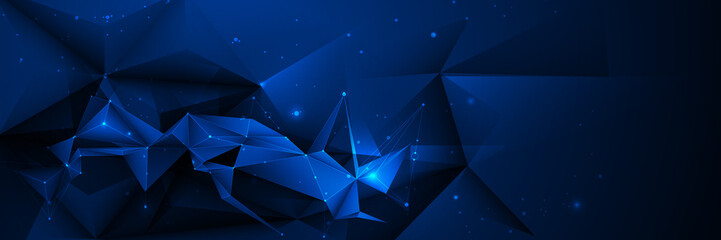 Vector 3D Illustration Geometric, Polygon, Line,Triangle pattern shape with molecule structure. Polygonal with blue background. Abstract science, futuristic, network connection concept