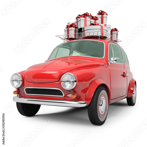 Fotobehang Cartoon cars Small Retro Christmas Car on White Background