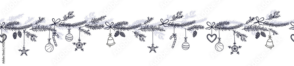Fototapety, obrazy: Cute hand drawn horizontal seamless pattern with fir branches and hanging decoration, great for christmas banners, wallpapers, wrapping, textiles - vector design