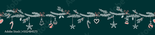 Türaufkleber Künstlich Cute hand drawn horizontal seamless pattern with fir branches and hanging decoration, great for christmas banners, wallpapers, wrapping, textiles - vector design