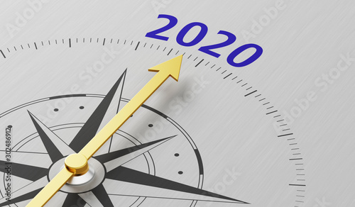 Compass needle pointing to the text 2020