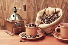 Coffee Grinder, Cup With Coffe...