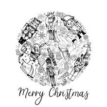 Poster Card Composition Of Hand Drawn Sketch Style Characters And Different Objects Related To The Nutcracker Fairy Tale Isolated On White Background. Vector Illustration.