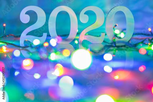 Obraz Happy new year 2020. Christmas and New Year background. Soft focus - fototapety do salonu