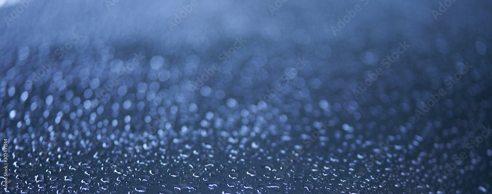 Fototapety, obrazy: drops of water on glass with bokeh