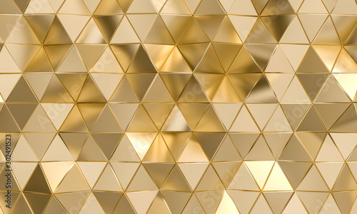 Fotografia polygonal background with triangular shapes in gold.