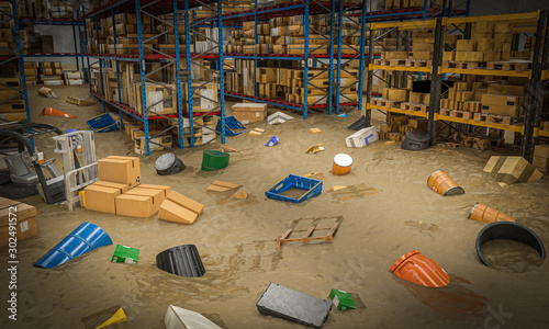 Fotografie, Obraz interior of a warehouse full of goods damaged by a flood of water and mud