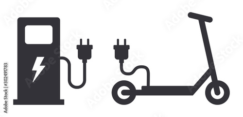 Foto Electric scooter loading station power plug sign