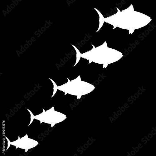 Fish icons isolated on black background Wallpaper Mural