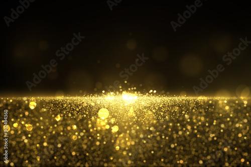 Fototapeta Sparkling golden glitter dust abstract luxury background obraz