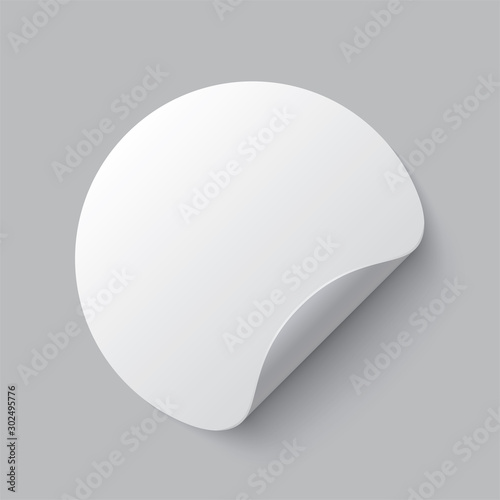 Photo  Realistic set white round paper adhesive stickers mockup with curved corner and shadow