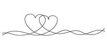 Hearts. Continuous Line Art Dr...