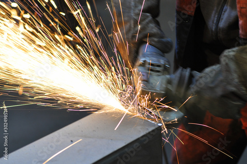 Sparks when working the angle grinder Canvas Print