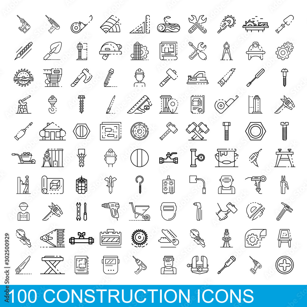 Fototapeta 100 construction icons set. Outline illustration of 100 construction icons vector set isolated on white background