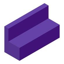 Purple Sofa Icon. Isometric Of...