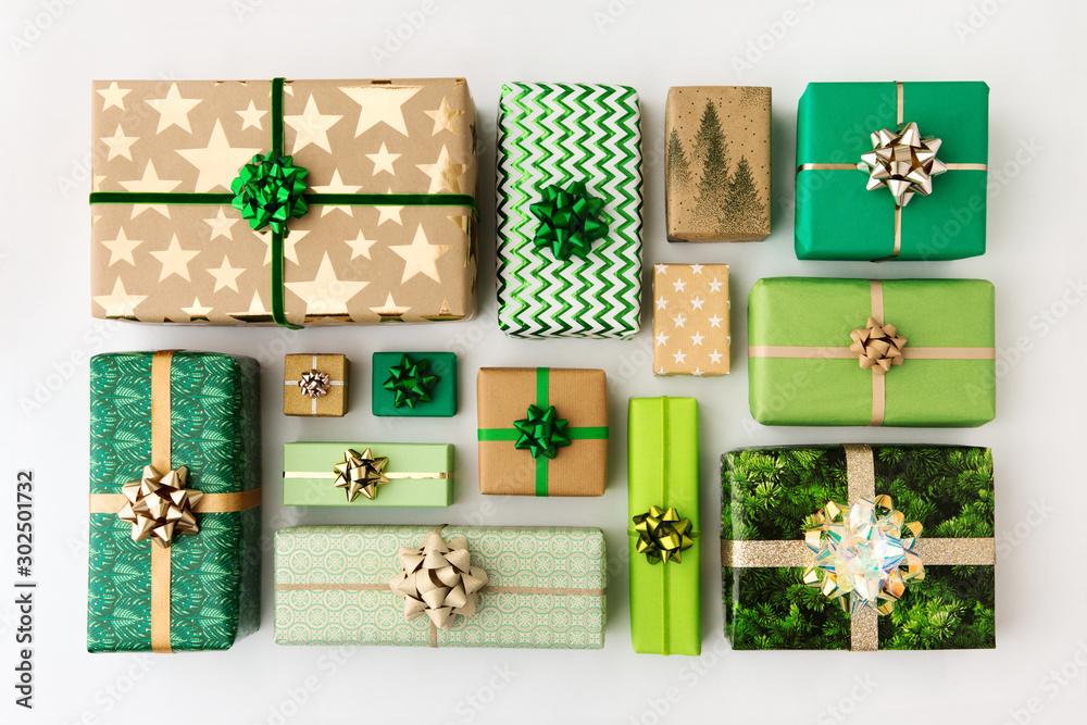 Fototapeta Collection of Christmas presents, overhead view