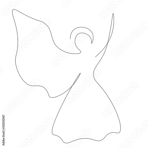 Photo Christmas angel silhouette continuous line drawing, vector illustration