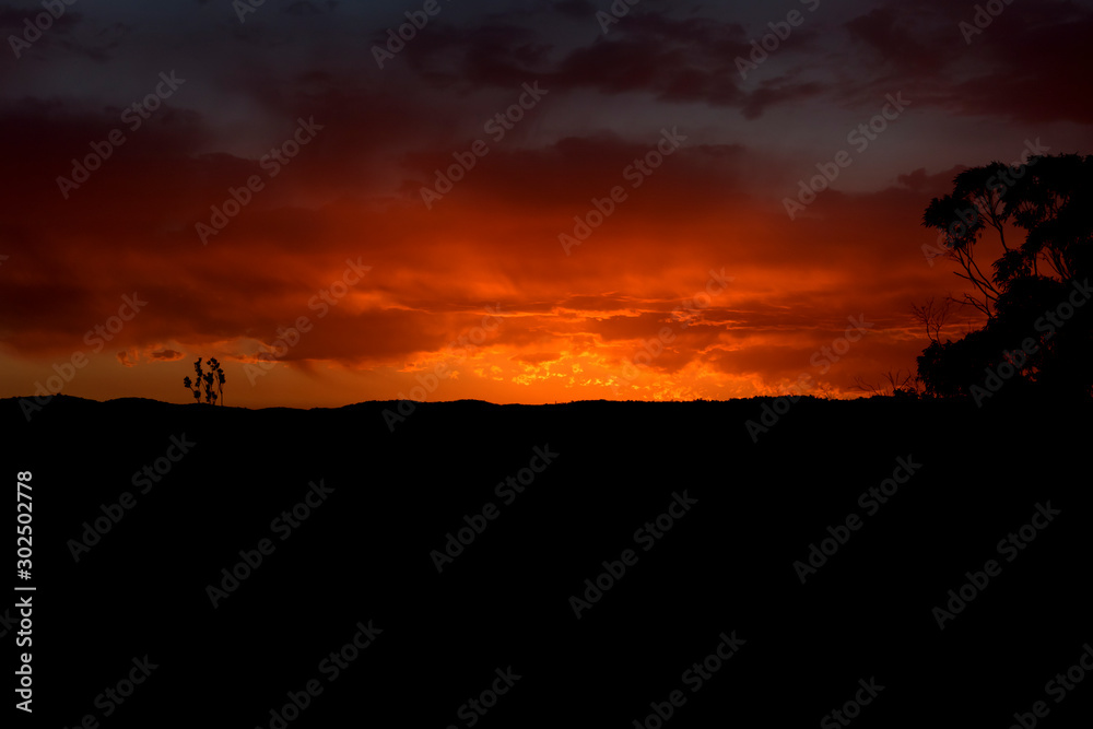 Vibrant red sunset caused by bushfire smoke and dust in the blue mountains in australia