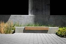Park Bench In A Modern Design Courtyard