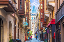 Galata Tower In Istanbul, View From The Narrow Street