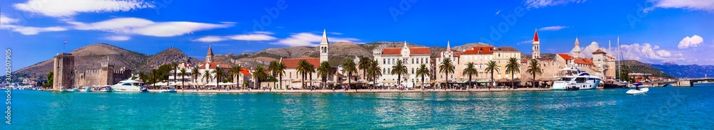 Fototapety, obrazy: Panoramic view of Trogir town in Croatia, popular tourist destination and historic place in Dalmatia