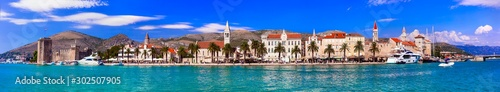 Photo Stands Ship Panoramic view of Trogir town in Croatia, popular tourist destination and historic place in Dalmatia
