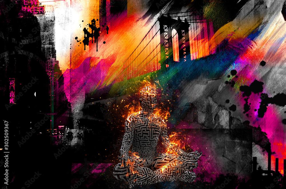 Colorful painting. Manhattan bridge. Burning figure of man in lotus pose.