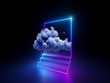 canvas print picture - 3d cloud going through square window isolated on black background. Starry night sky. Abstract dreaming metaphor. Glowing pink blue neon lines. Virtual reality. Ultraviolet light