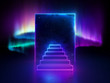 canvas print picture 3d abstract neon background, dreaming metaphor, aurora borealis behind the rectangular portal and steps, ultraviolet spectrum, glowing pink blue light, night starry sky, cosmic space